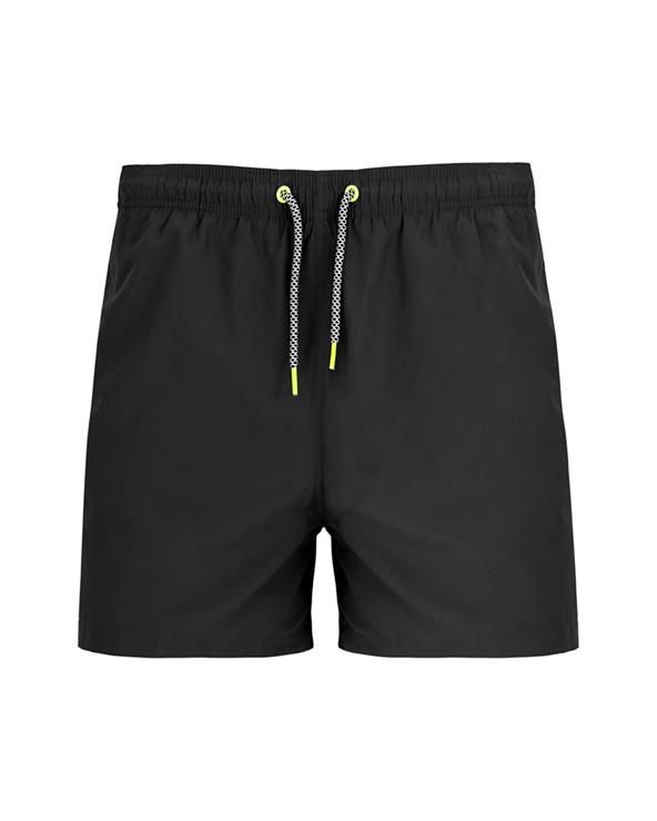 Bañador con dos bolsillos laterales. Cinturilla elástica con cordones decorativos ajustables y ojales metálicos  a contraste. L