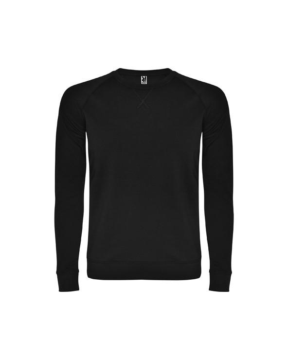 Sudadera de algodón de manga larga estilo ranglan. Con cuello, puños y cintura, en canalé 1x1. Cuello redondo con adorno de cos