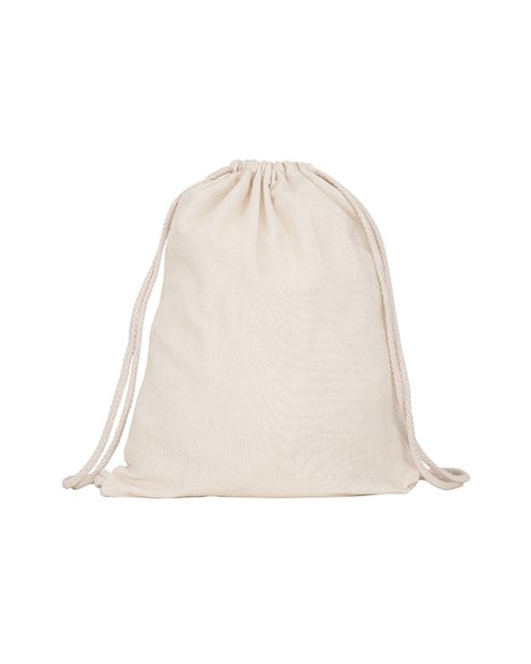 Mochila multiusos de algodón. Cordones de ajuste a la espalda a tono, de 8 mm de grosor.