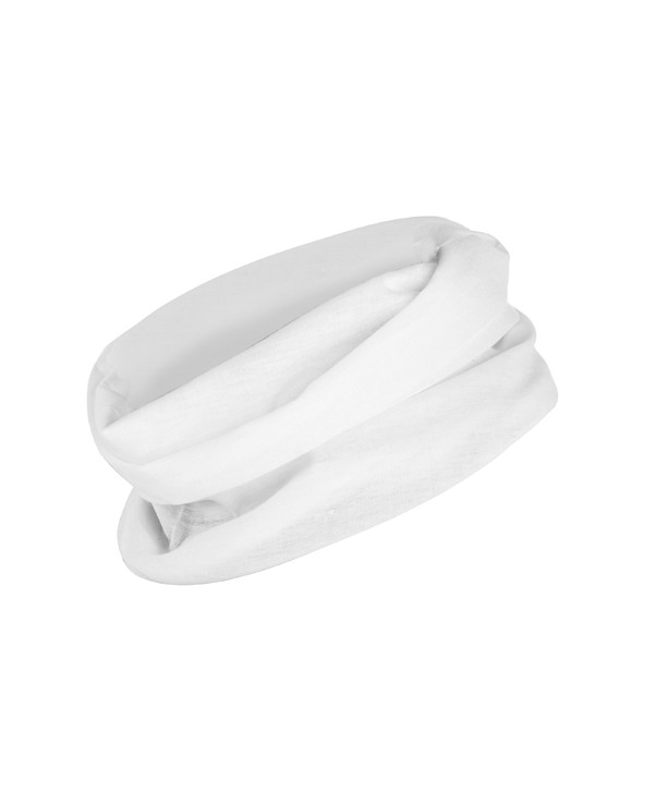 Braga para cuello multifuncional, de corte recto y diseño tubular.  Medidas:  25 x 50 cm.