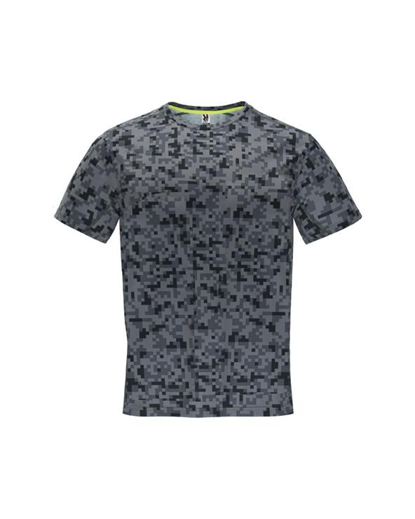 Camiseta técnica estampada de manga corta. Cuello redondo con cubrecosturas de refuerzo a contraste en color amarillo flúor. Pa