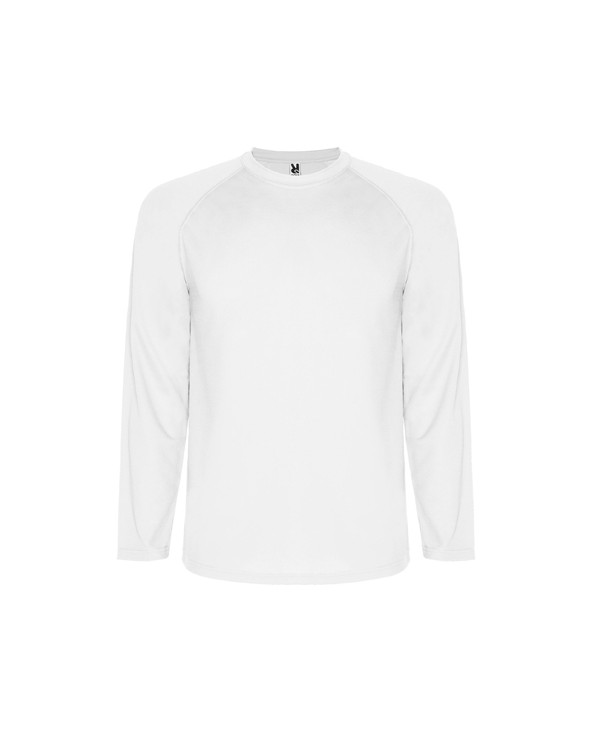 Camiseta técnica de manga larga ranglán. 1.- Remallada al tono en mangas (sin cortes laterales). 2.- Cubrecosturas en cuello.