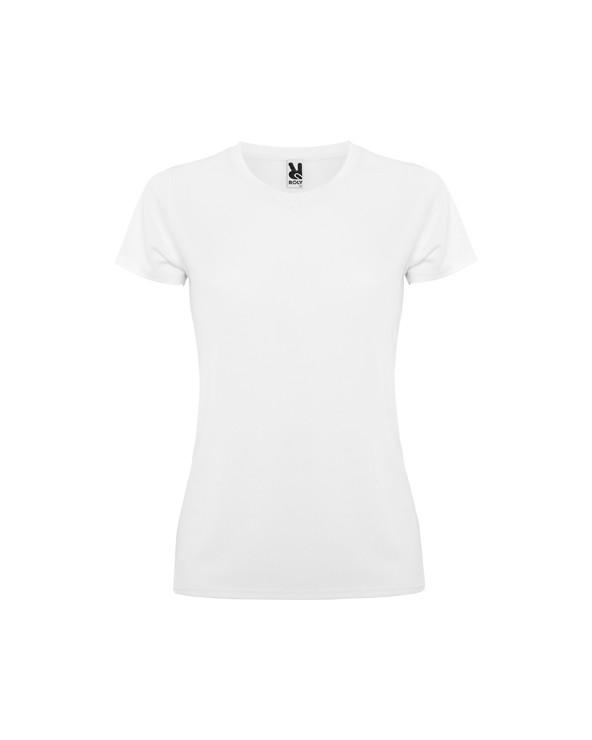 Camiseta técnica de manga corta.  1.- Escote redondo con cubrecosturas. 2.- Corte entallado.