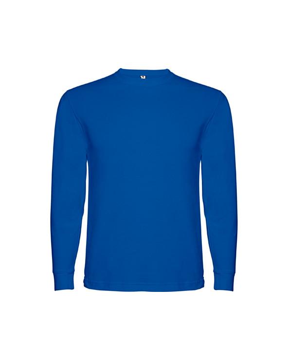Camiseta de manga larga, tejido tubular, con cuello redondo de 4 capas y puños canalé 1x1. Cubre costuras reforzado en cuello y