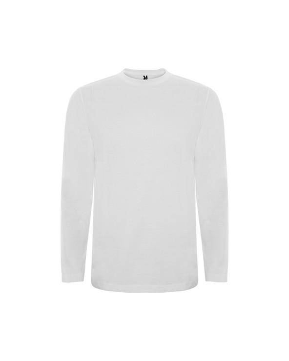 Camiseta de manga larga, tejido tubular y cuello redondo 4 capas. Cubrecosturas de refuerzo en cuello y hombro. Sin puños.