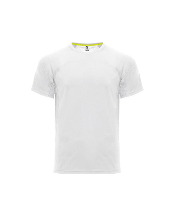 Camiseta técnica unisex de manga corta.  1. Cuello redondo con cubrecosturas de refuerzo a contraste en color amarillo flúor.