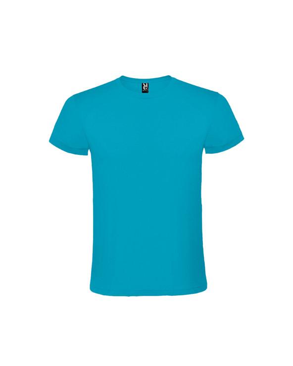 Camiseta de manga corta, cuello redondo doble. Cubrecosturas reforzado en cuello y hombros, tejido tubular.