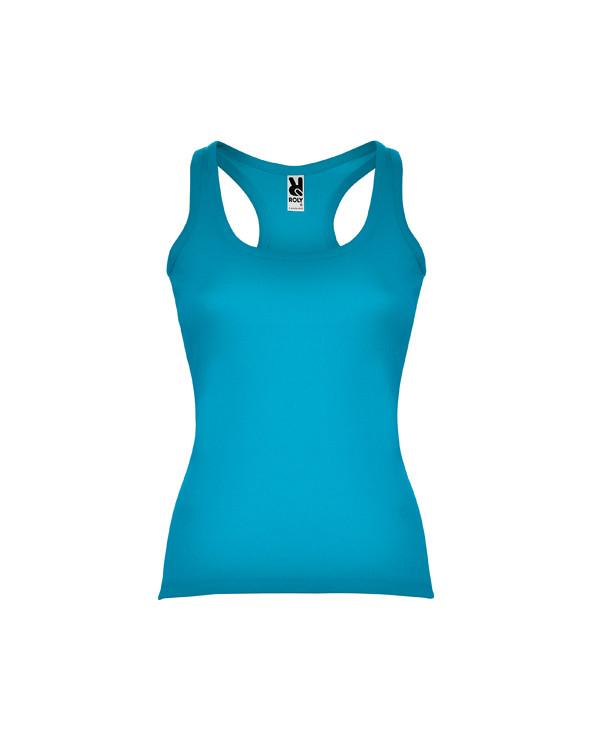 Camiseta entallada, con sisas y escote ribeteado, ancho y enrollado. Espalda estilo nadadora y costuras laterales.