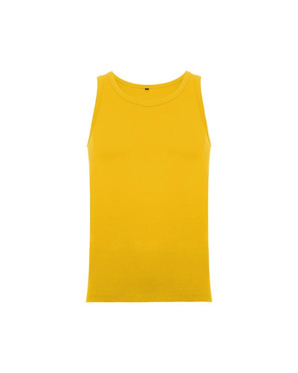 Camiseta de tirantes anchos, corte semientallado, ribeteado en punto liso en escote y sisa. Costuras laterales remalladas a 4 h