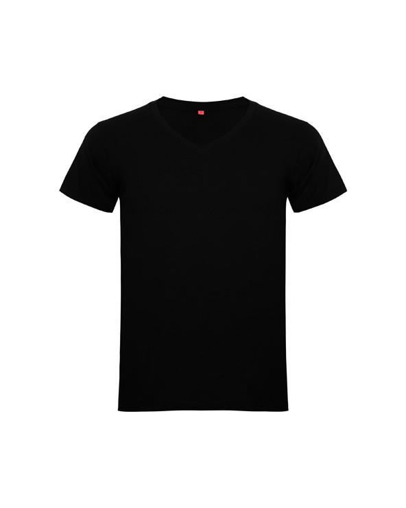 Camiseta manga corta, con amplio escote acabado en V, ribeteado en punto canalé. Cubrecosturas reforzado en cuello. Costuras re