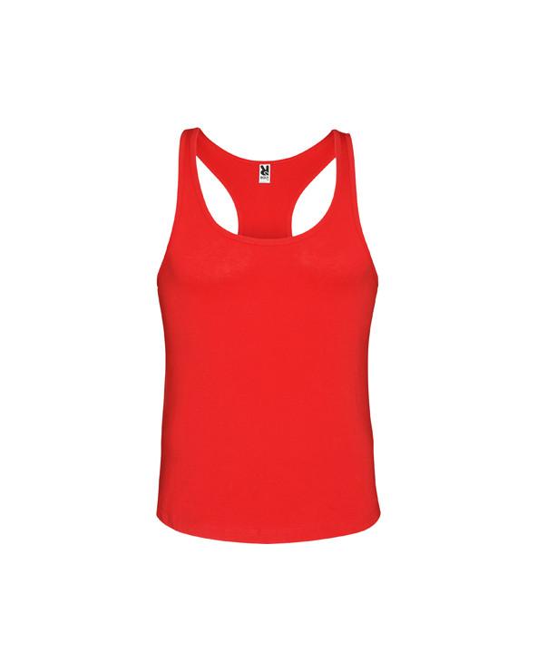 Camiseta de tirantes con sisas bajas. Espalda estilo nadadora y bajo redondeado.