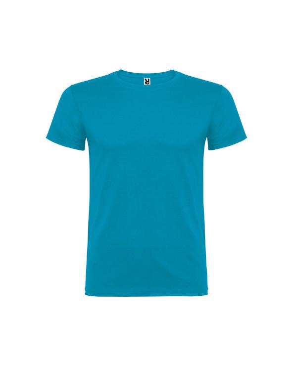 Camiseta de manga corta, de cuello redondo doble con elastano, confeccionada en tejido tubular en tallas de adulto, y con costu