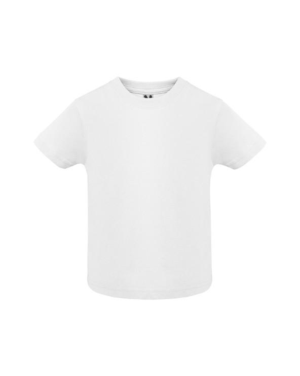 Camiseta de manga corta especial para bebé, confeccionada con tejido en galga fina y acabado compactado.  Cuello redondo y aper