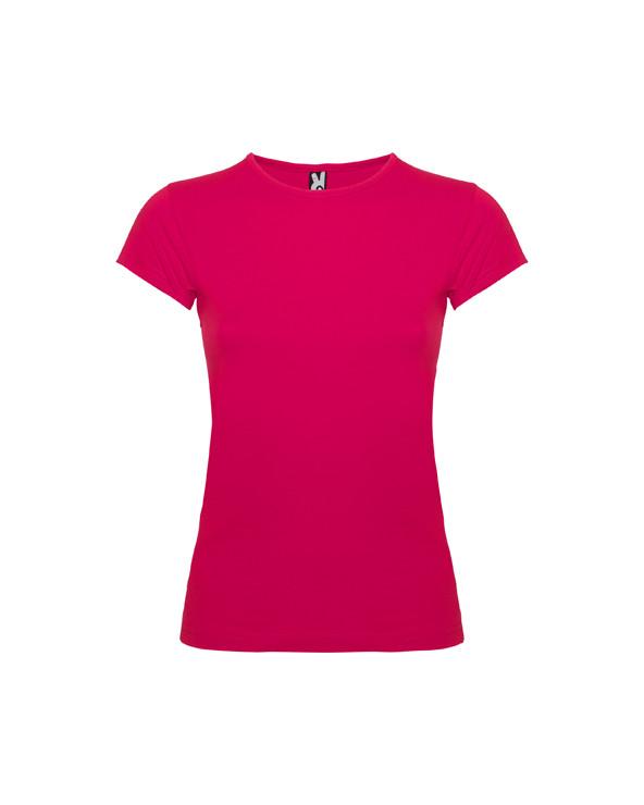 Camiseta de manga corta con cuello fino ribeteado. Tejido de  fácil lavado y secado, muy confortable. Corte entallado con costu