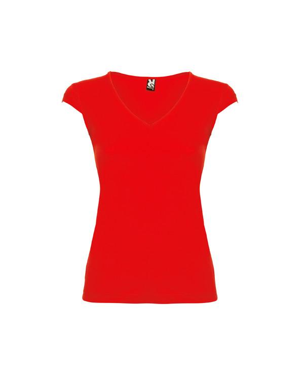 Camiseta de manga corta, con escote en V y acabados realizados con ribete fino. Costuras laterales. Corte entallado.
