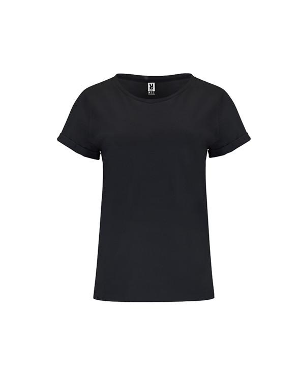 Camiseta de manga corta para mujer. Cuello redondo en el mismo tejido y cubrecosturas interior a tono. Dobladillo en mangas ref