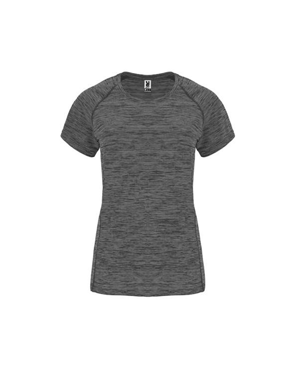 Camiseta técnica de mujer en tejido poliéster de manga corta estilo ranglán. Cuello redondo. Camiseta de tejido con caída confo