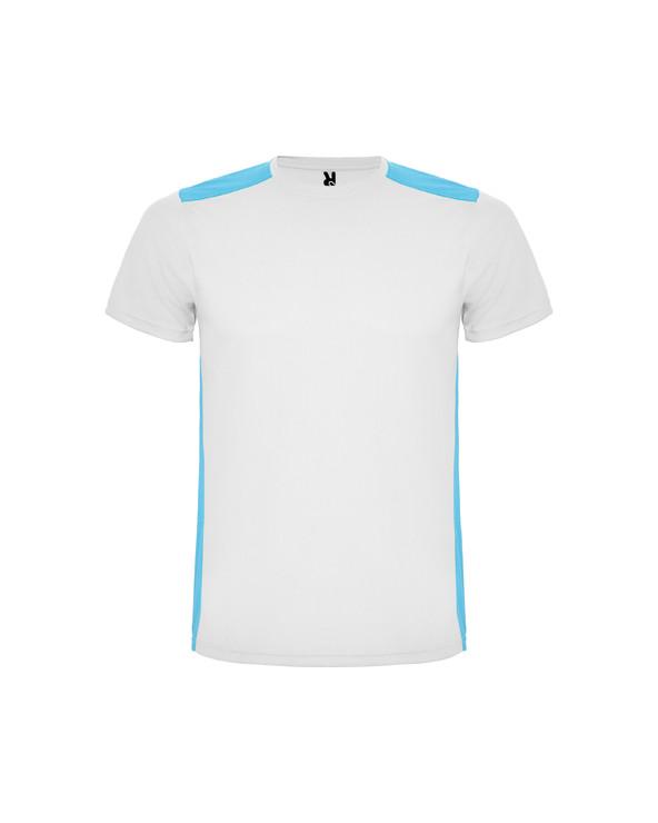 Camiseta técnica de manga corta. 1.- Cuello redondo. 2.- Combinada en espalda y hombros con dos tejidos de poliéster.  3.- T