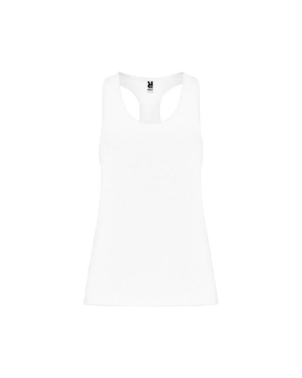 Camiseta deportiva con espalda estilo nadadora. Tejido poliéster con tacto algodón. Tejido adaptable al cuerpo. Corte entallado