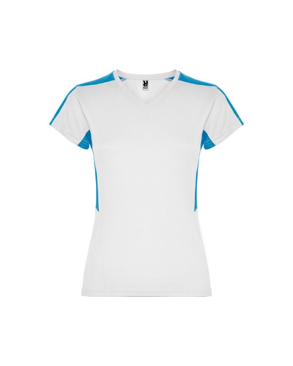 Camiseta técnica de manga corta para mujer. 1.- Cuello pico. 2.- Combinada en laterales y hombros con dos tejidos de poliéste