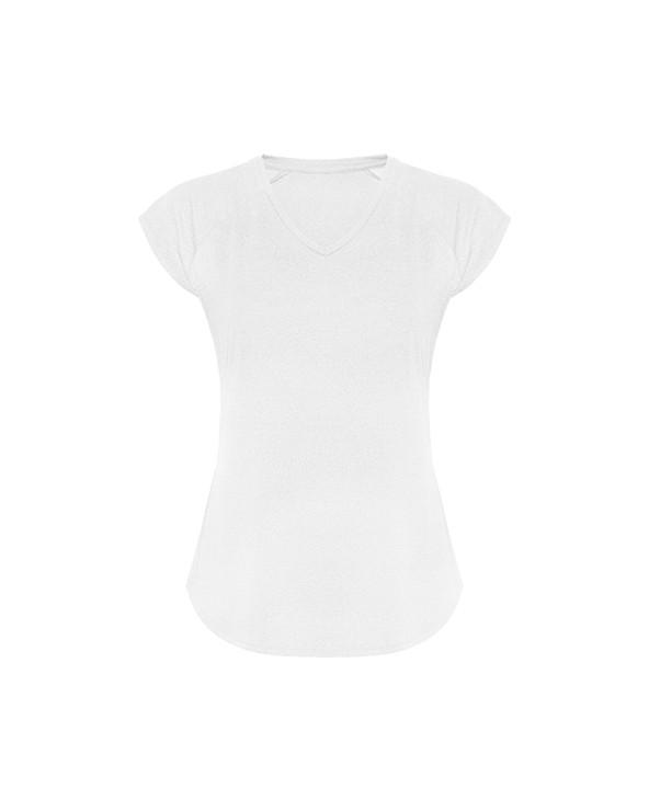 Camiseta técnica multideporte de mujer manga corta estilo manga ranglan. Cuello pico. Tejido poliéster con tacto algodón. Corte