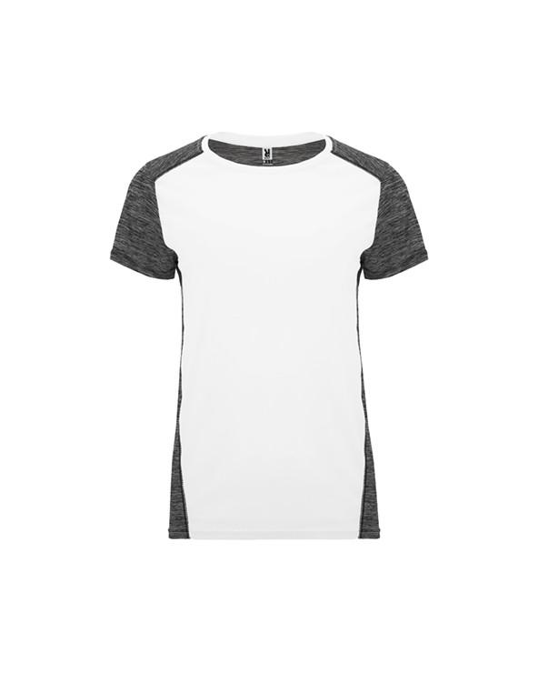 Camiseta técnica de manga corta para mujer.  1. Cuello redondo.  2. Combinado en espalda, hombros y mangas con dos tejidos de