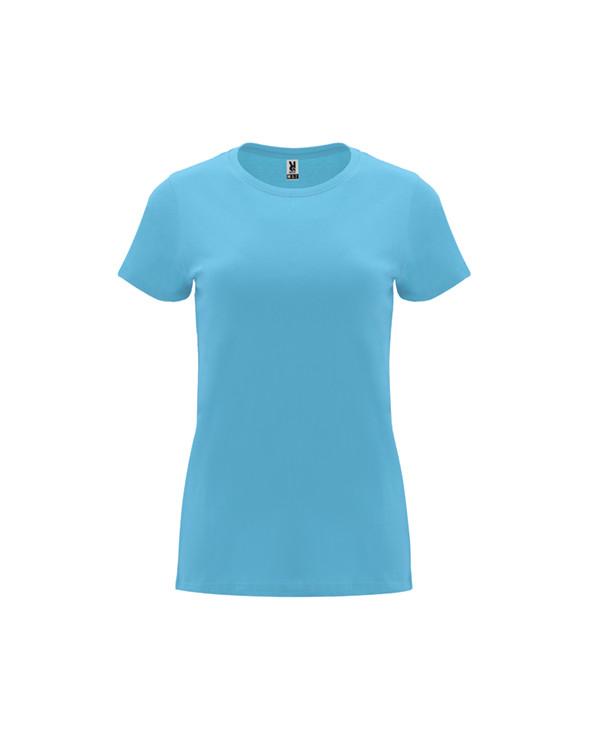Camiseta de manga corta entallada para mujer. Cuello redondo en canalé 1x1. Cubrecosturas reforzado en cuello.