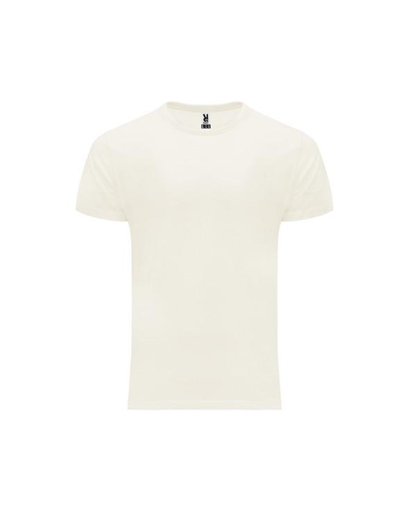 Camiseta de manga corta en algodón orgánico. Cuello redondo de 4 capas con cubrecosturas reforzado de hombro a hombro. Costuras