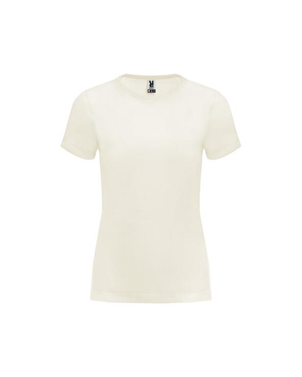 Camiseta de manga corta en algodón orgánico para mujer.  Cuello redondo en canalé 1x1 con cubrecosturas reforzado de hombro a h
