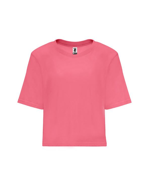 Camiseta de talle corto y holgado para mujer con manga corta. Cuello redondo con ribete ancho en canalé 1x1. Cubrecosturas refo