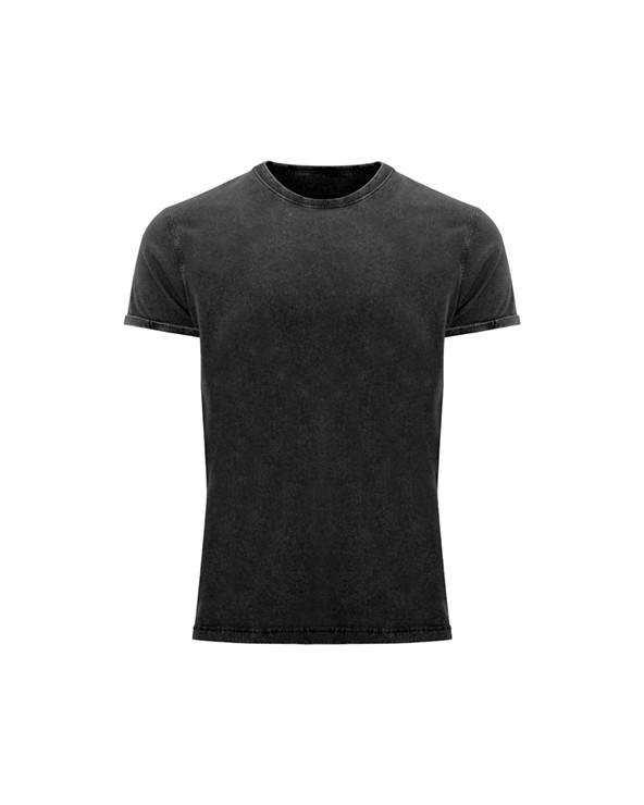 Camiseta de manga corta efecto jeans. Cuello redondo en canalé 1x1, con cubrecosturas de refuerzo interior de hombro a hombro.