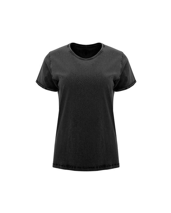 Camiseta de manga corta efecto jeans para mujer. Cuello fino redondo en canalé 1x1 con cubrecosturas de refuerzo de hombro a ho