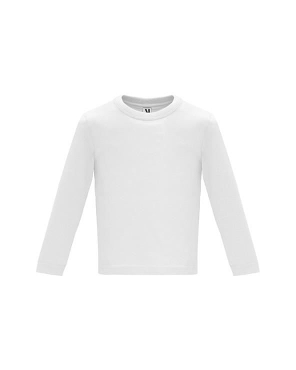 Camiseta de manga larga especial para bebé, confeccionada en tejido en galga fina y acabado compactado. Cuello redondo y apertu