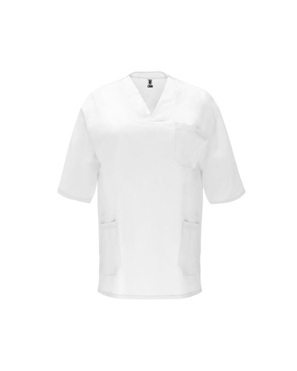 Casaca de servicios unisex de manga corta y escote de pico cruzado. Un bolsillo en pecho y dos bolsillos laterales. Aperturas l