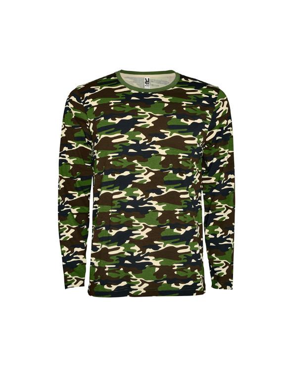 Camiseta manga larga, estampado camuflaje, cuello a caja redondo y sin puños.  Refuerzo de 4 capas con cubrecosturas en la part