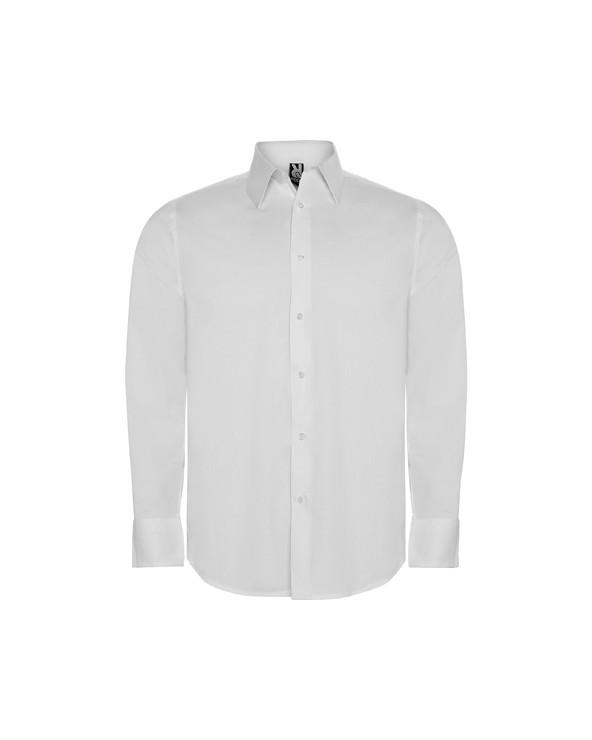 Camisa de tejido stretch, manga larga y cuello entretelado. Puños con 2 botones y bajo con forma. Cuidado fácil.