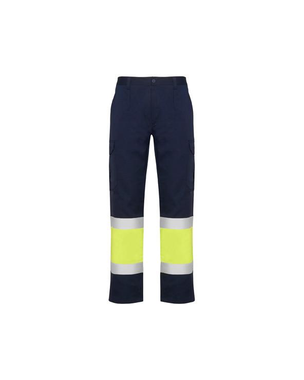 Pantalón multibolsillos de verano para alta visibilidad.  1.- Cinturilla elástica en la parte trasera.  2.- Dos bolsillos con