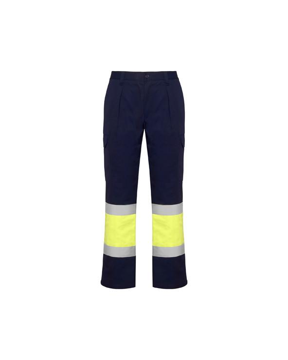 Pantalón multibolsillos de invierno para alta visibilidad. 1.- Cinturilla elástica en la parte trasera.  2.- Dos bolsillos co