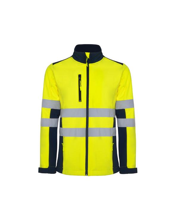 Soft shell bicolor de alta visibilidad. 1.- Con cintas reflectantes en torso y mangas.  2.- Con cuello alto, cierre central c