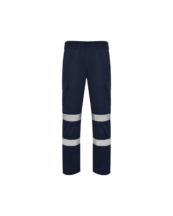 Pantalón largo de alta visibilidad con tejido resistente.  1.- Cinturilla ajustable elástica en la parte trasera. 2.- Dos bol