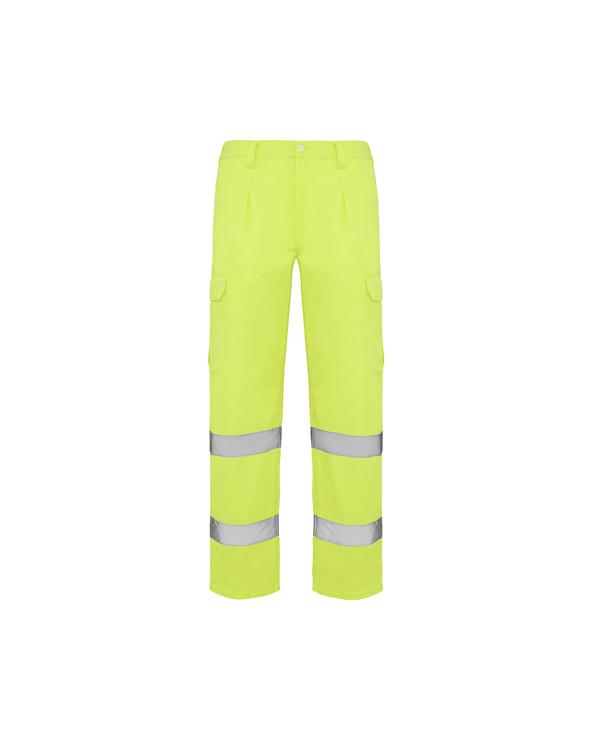 Pantalón largo de alta visibilidad amarillo flúor.  1.- Cinturilla ajustable elástica en la parte trasera. 2.- Dos bolsillos
