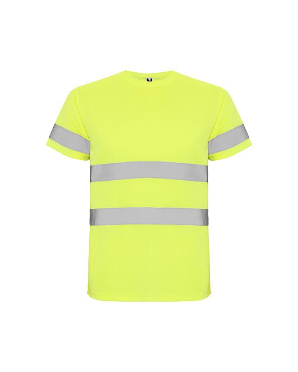 Camiseta técnica de manga corta de alta visibilidad. Cuello redondo en el mismo tejido, con cubrecosturas reforzado en la parte