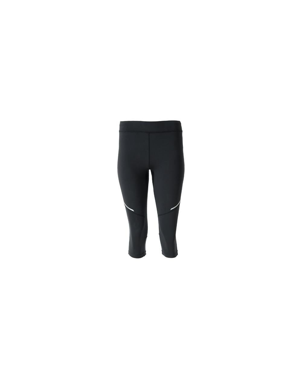 Malla deportiva de mujer a media pierna. Cinturilla elástica y cordón interior cruzado para facilitar el ajuste. Detalles refle