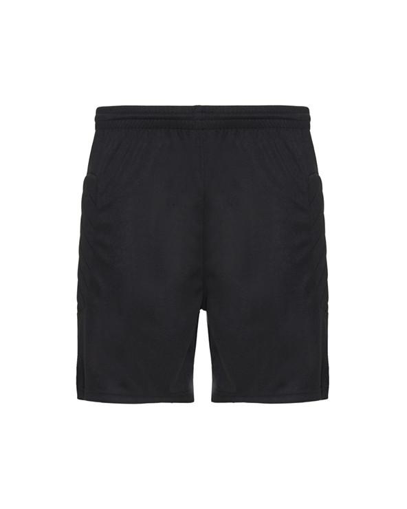 Pantalón corto de portero unisex.  1. Con inserciones laterales acolchadas.  2. Cinturilla elástica con cordón interior ajust