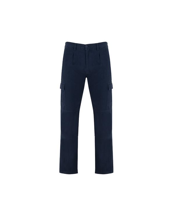 Pantalón largo en tejido resistente de algodón: 1. Cinturilla ajustable elástica en parte trasera. 2. Dos bolsillos frontales