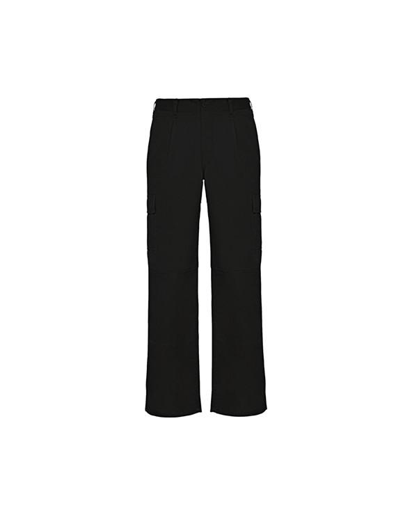 Pantalón largo de tejido resistente. 1.- Cintura ajustable elástica en parte trasera. 2.- Dos bolsillos frontales. 3.- Bolsi