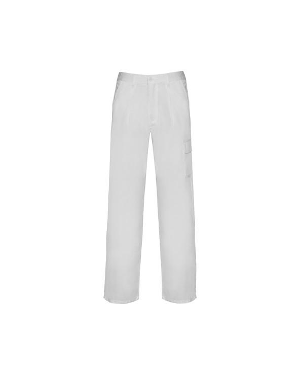 Pantalón largo de tejido resistente. 1. Cinturilla ajustable elástica en parte trasera.  2. Dos bolsillos frontales.  3. Un