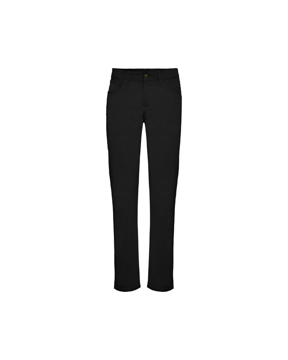 Pantalón largo de mujer, con tejido confortable y resistente.  1.- Dos bolsillos delanteros. Sobre el derecho, además, un bols
