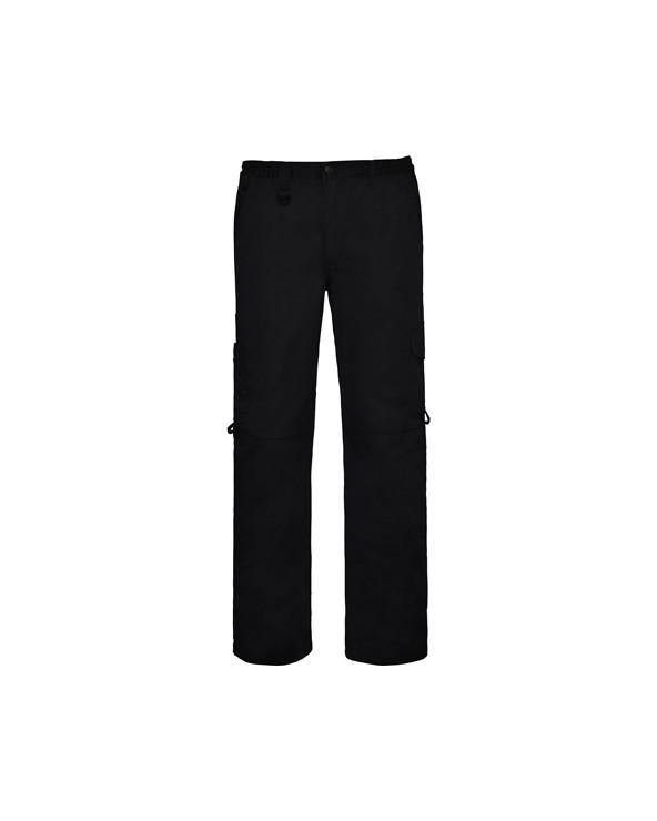 Pantalón recto sin pinzas. 1. Cinturilla ajustable mediante gomas elásticas para mayor adaptación.  2. Dos bolsillos traseros