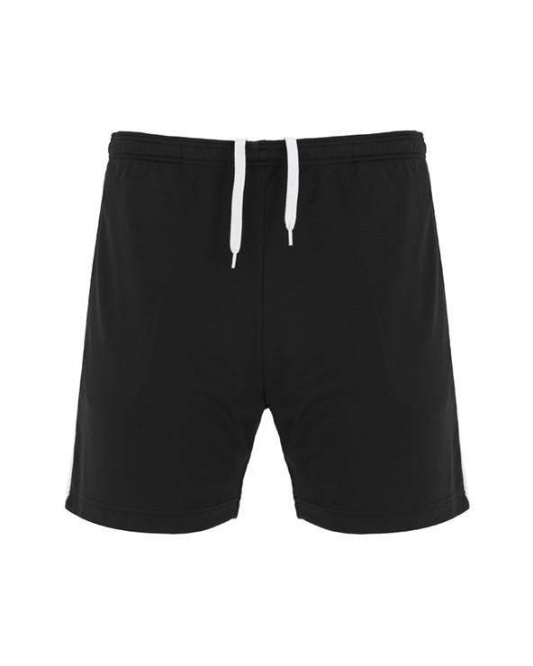 Bermuda corta multideporte. Bolsillos laterales con cremalleras. Cinturilla elástica con cordón interior cruzado a contraste. B